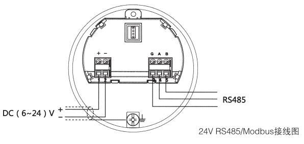 水滴天线雷达物位计24VRS485/Modbus接线图