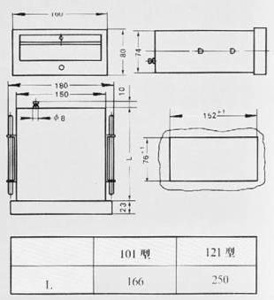 矩形膜盒壓力表外形尺寸