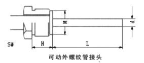雙金屬溫度計可動外螺紋管接頭