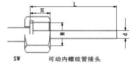 雙金屬溫度計可動內螺紋管接頭