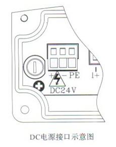 分体式电磁流量计DC电源接口示意图